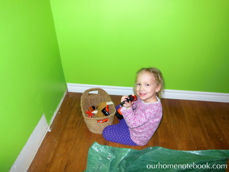 Kids Room Makeover - Emma helping