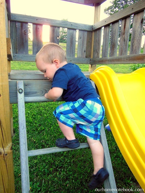 Building a Playset - Brendan climbing down ladder