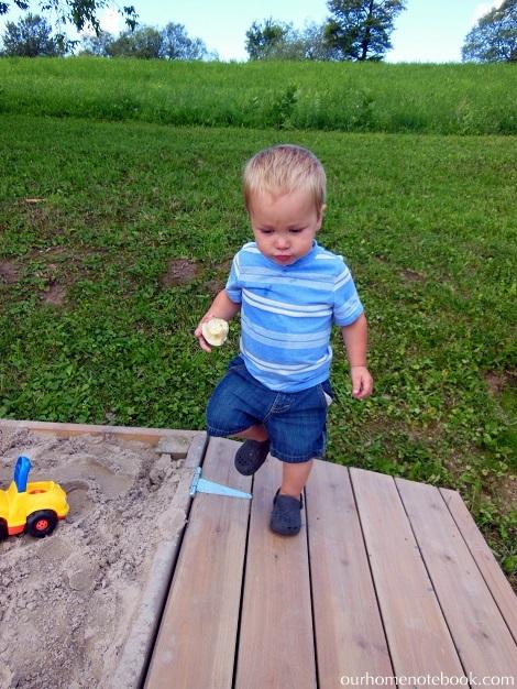 Building a Sandbox - Brendan walking on the lid