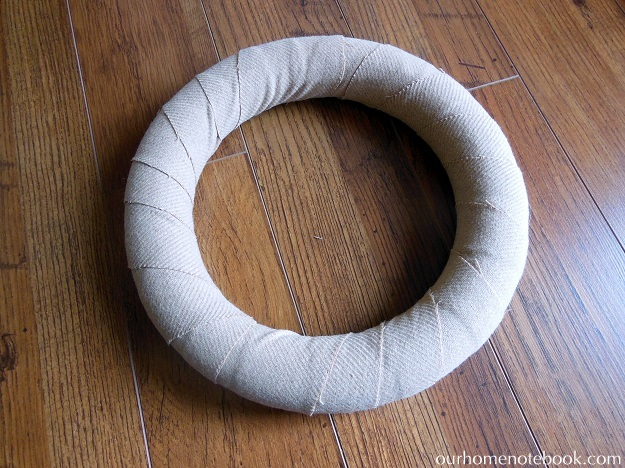 Simple Fabric Wrapped Wreath Tutorial - Step 1 Wrapped Wreath Form