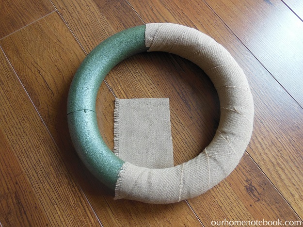 Simple Fabric Wrapped Wreath Tutorial - Step 1 Wrapping Wreath Form