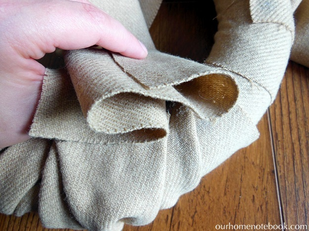 Simple Fabric Wrapped Wreath Tutorial - Step 2 Adding the Second Large  Fabric Strip