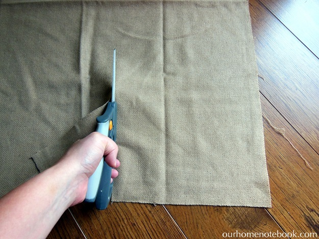 Simple Fabric Wrapped Wreath Tutorial - Step 2 Cut Large Fabric Strips
