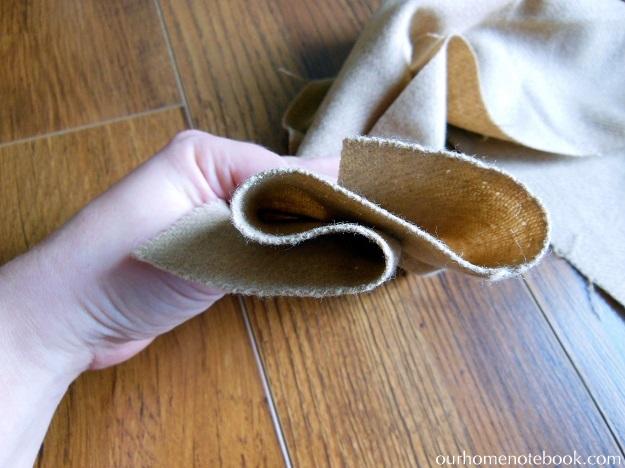 Simple Fabric Wrapped Wreath Tutorial - Step 2 Fold Fabric