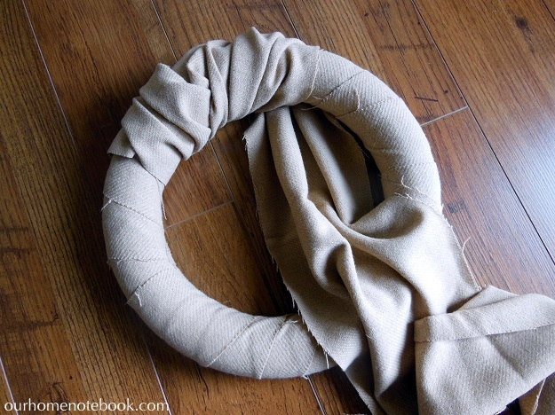 Simple Fabric Wrapped Wreath Tutorial - Step 2 Wrapping Large Fabric Strip