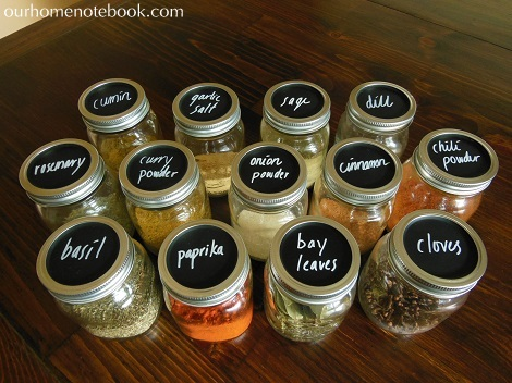 Storing Spices in Mason Jars with Chalk Labels 2