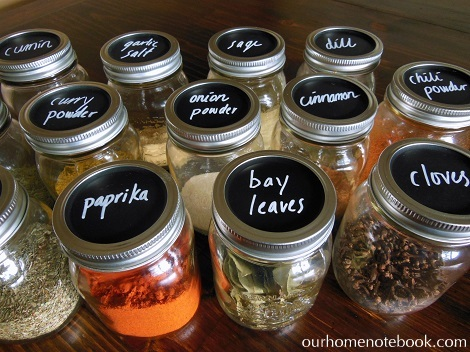 Storing Spices in Mason Jars with Chalk Labels 4