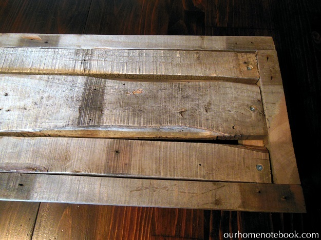 Building A Rustic Wood Centerpiece Box - Screwing the bottom boards in